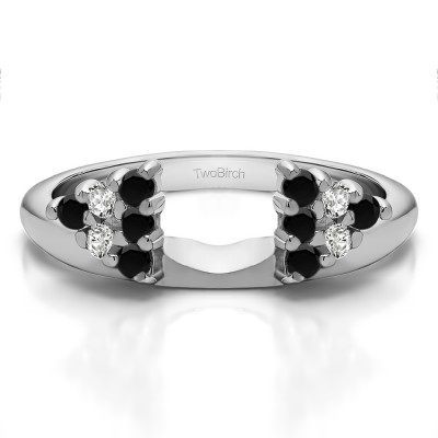0.25 Ct. Black and White Twelve Stone Shared Prong Cluster Ring Wrap Enhancer