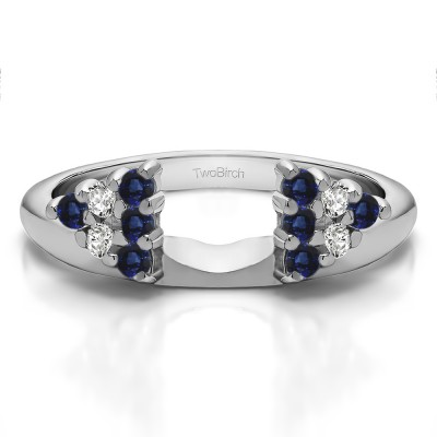0.25 Ct. Sapphire and Diamond Twelve Stone Shared Prong Cluster Ring Wrap Enhancer