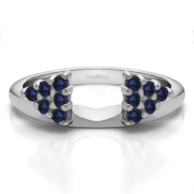 0.25 Ct. Sapphire Twelve Stone Shared Prong Cluster Ring Wrap Enhancer