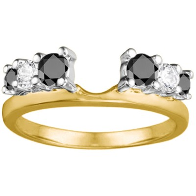 0.5 Ct. Black and White Double Shared Prong Graduated Six Stone Ring Wrap in Two Tone Gold