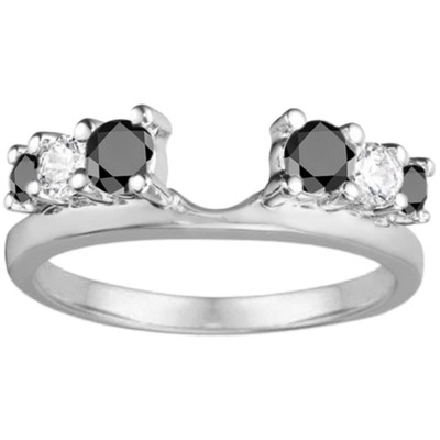 0.5 Ct. Black and White Double Shared Prong Graduated Six Stone Ring Wrap