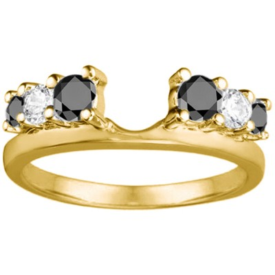 0.5 Ct. Black and White Double Shared Prong Graduated Six Stone Ring Wrap in Yellow Gold