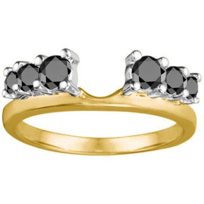 0.5 Ct. Black Double Shared Prong Graduated Six Stone Ring Wrap in Two Tone Gold