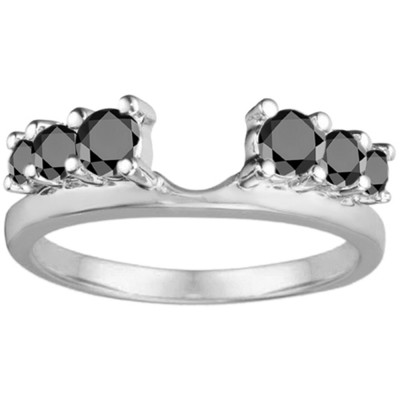 0.5 Ct. Black Double Shared Prong Graduated Six Stone Ring Wrap