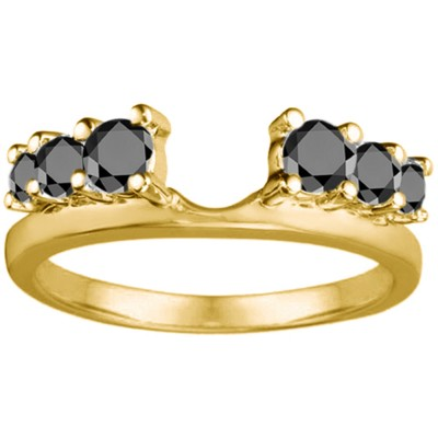 0.5 Ct. Black Double Shared Prong Graduated Six Stone Ring Wrap in Yellow Gold