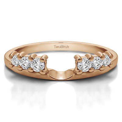 0.25 Ct. Double Shared Prong Graduated Six Stone Ring Wrap in Rose Gold