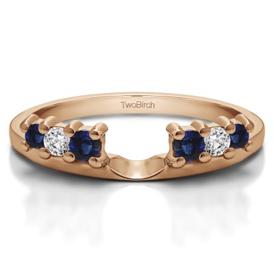 0.25 Ct. Sapphire and Diamond Double Shared Prong Graduated Six Stone Ring Wrap in Rose Gold