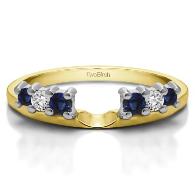 0.25 Ct. Sapphire and Diamond Double Shared Prong Graduated Six Stone Ring Wrap in Two Tone Gold