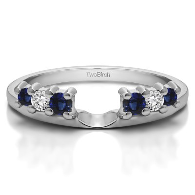 0.25 Ct. Sapphire and Diamond Double Shared Prong Graduated Six Stone Ring Wrap