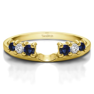 0.25 Ct. Sapphire and Diamond Double Shared Prong Graduated Six Stone Ring Wrap in Yellow Gold