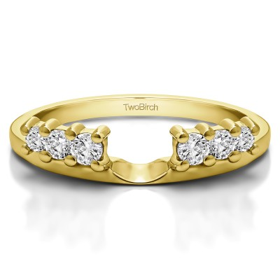 0.25 Ct. Double Shared Prong Graduated Six Stone Ring Wrap in Yellow Gold