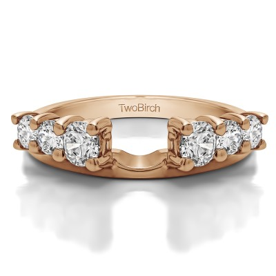 0.75 Ct. Double Shared Prong Graduated Six Stone Ring Wrap in Rose Gold