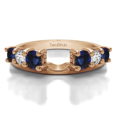 0.75 Ct. Sapphire and Diamond Double Shared Prong Graduated Six Stone Ring Wrap in Rose Gold