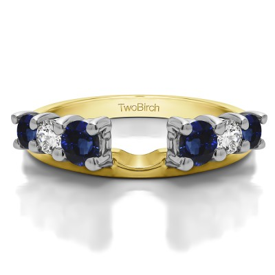 0.75 Ct. Sapphire and Diamond Double Shared Prong Graduated Six Stone Ring Wrap in Two Tone Gold