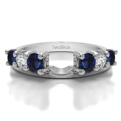 0.75 Ct. Sapphire and Diamond Double Shared Prong Graduated Six Stone Ring Wrap