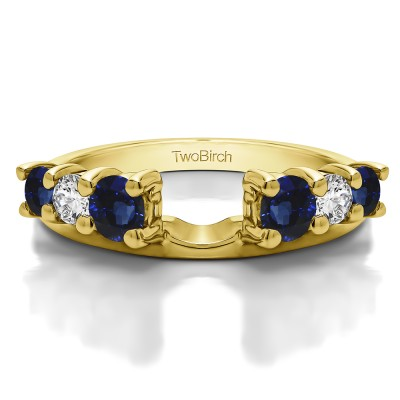 0.75 Ct. Sapphire and Diamond Double Shared Prong Graduated Six Stone Ring Wrap in Yellow Gold