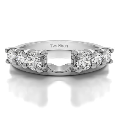 0.75 Ct. Double Shared Prong Graduated Six Stone Ring Wrap With Cubic Zirconia Mounted in Sterling Silver (Size 4.25)