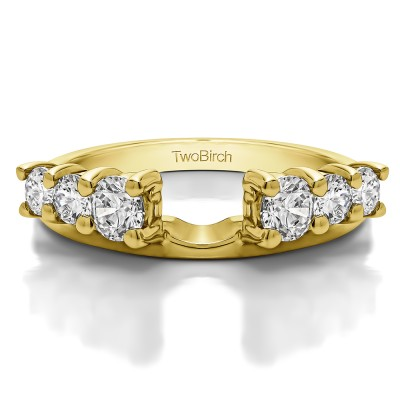 0.75 Ct. Double Shared Prong Graduated Six Stone Ring Wrap in Yellow Gold