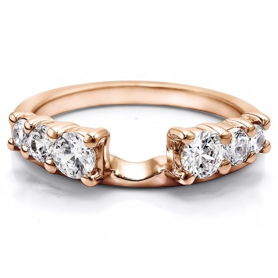 0.5 Ct. Double Shared Prong Graduated Six Stone Ring Wrap in Rose Gold