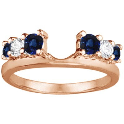 0.5 Ct. Sapphire and Diamond Double Shared Prong Graduated Six Stone Ring Wrap in Rose Gold