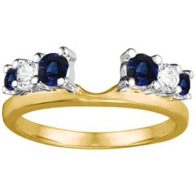 1 Ct. Sapphire and Diamond Double Shared Prong Graduated Six Stone Ring Wrap in Two Tone Gold