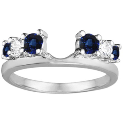 0.5 Ct. Sapphire and Diamond Double Shared Prong Graduated Six Stone Ring Wrap
