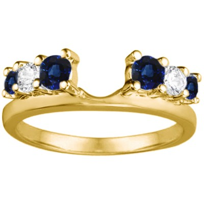 1 Ct. Sapphire and Diamond Double Shared Prong Graduated Six Stone Ring Wrap in Yellow Gold