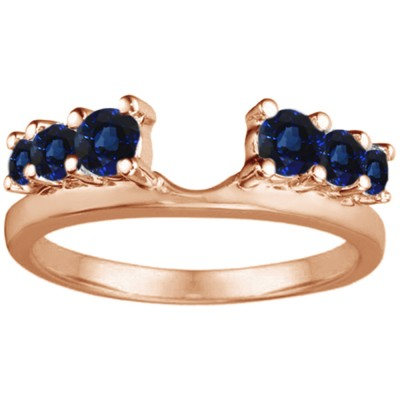 0.25 Ct. Sapphire Double Shared Prong Graduated Six Stone Ring Wrap in Rose Gold