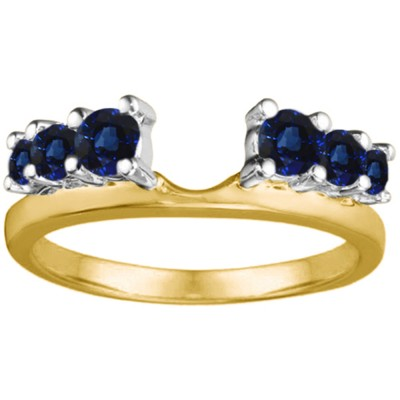 0.25 Ct. Sapphire Double Shared Prong Graduated Six Stone Ring Wrap in Two Tone Gold