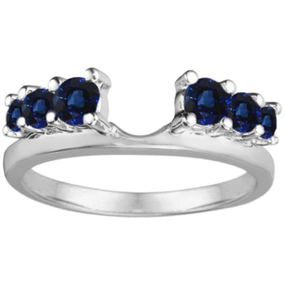 0.25 Ct. Sapphire Double Shared Prong Graduated Six Stone Ring Wrap