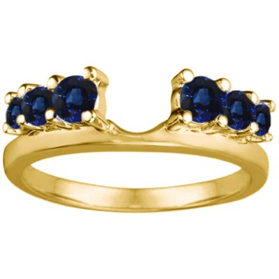 0.25 Ct. Sapphire Double Shared Prong Graduated Six Stone Ring Wrap in Yellow Gold