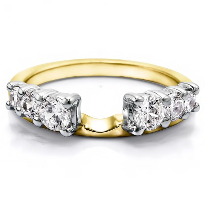 0.5 Ct. Double Shared Prong Graduated Six Stone Ring Wrap in Two Tone Gold