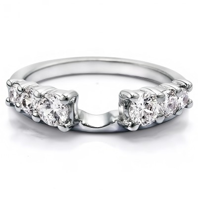 1 Ct. Double Shared Prong Graduated Six Stone Ring Wrap With Cubic Zirconia Mounted in Sterling Silver (Size 5)