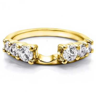 1 Ct. Double Shared Prong Graduated Six Stone Ring Wrap in Yellow Gold