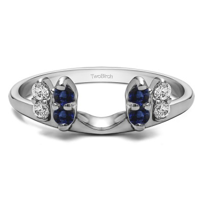 0.16 Ct. Sapphire and Diamond Marquise Shaped Round Ring Wrap Enhancer