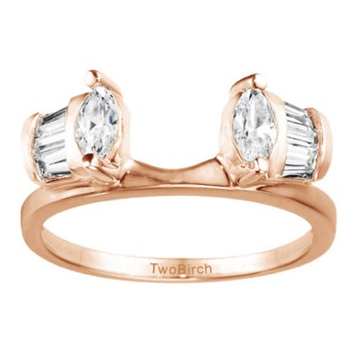 1 Ct. Tapered Baguette and Marquise Ring Wrap Enhancer in Rose Gold
