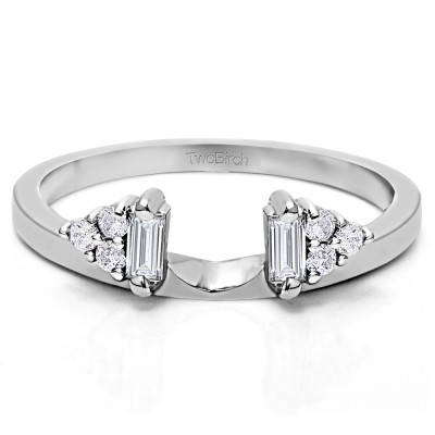 0.25 Ct. Baguette and Round Cluster Ring Wrap Enhancer With Cubic Zirconia Mounted in Sterling Silver (Size 7)