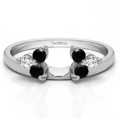 0.33 Ct. Black and White Three Stone Cluster Ring Wrap Enhancer
