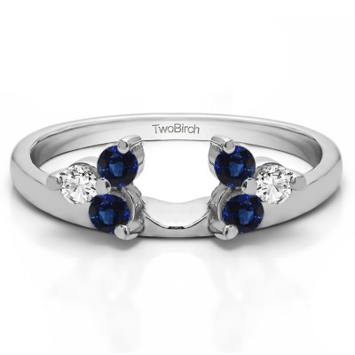 0.12 Ct. Sapphire and Diamond Three Stone Cluster Ring Wrap Enhancer