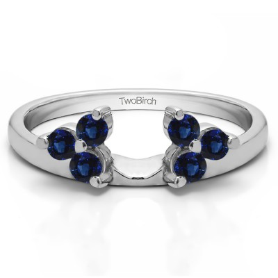 0.12 Ct. Sapphire Three Stone Cluster Ring Wrap Enhancer