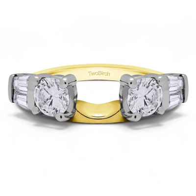 1 Ct. Round and Tapered Baguette Ring Wrap in Two Tone Gold