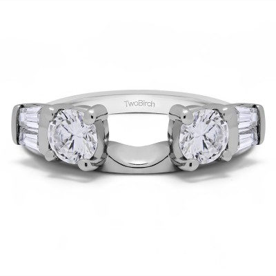 1 Ct. Round and Tapered Baguette Ring Wrap With Cubic Zirconia Mounted in Sterling Silver (Size 4.5)