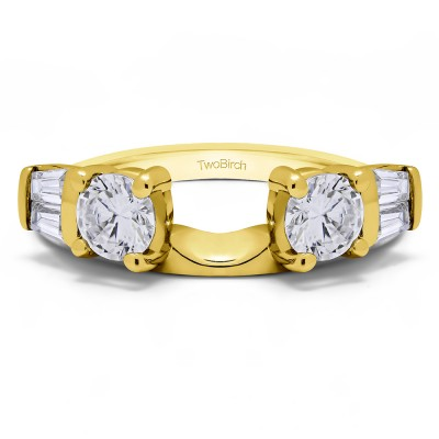 1 Ct. Round and Tapered Baguette Ring Wrap in Yellow Gold