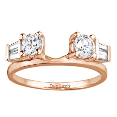 0.69 Ct. Round and Tapered Baguette Ring Wrap in Rose Gold