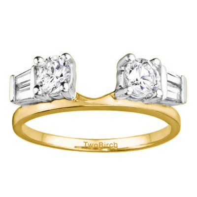 0.69 Ct. Round and Tapered Baguette Ring Wrap in Two Tone Gold