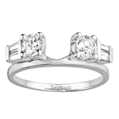 0.69 Ct. Round and Tapered Baguette Ring Wrap