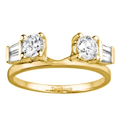 0.69 Ct. Round and Tapered Baguette Ring Wrap in Yellow Gold