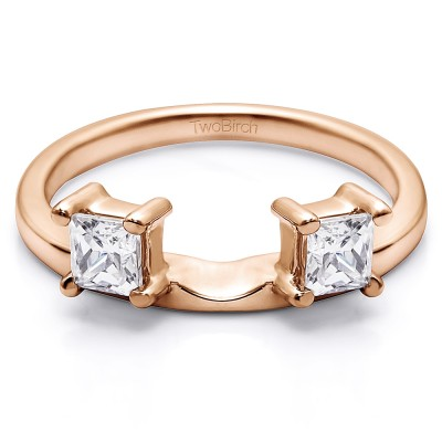 0.25 Ct. Two Stone Princess Cut Ring Wrap Enhancer in Rose Gold
