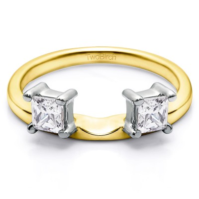 0.25 Ct. Two Stone Princess Cut Ring Wrap Enhancer in Two Tone Gold