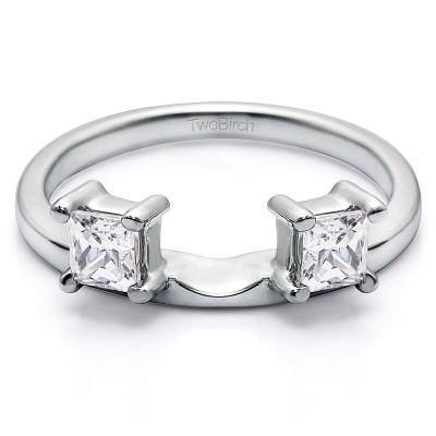 0.25 Ct. Two Stone Princess Cut Ring Wrap Enhancer With Cubic Zirconia Mounted in Sterling Silver (Size 6)